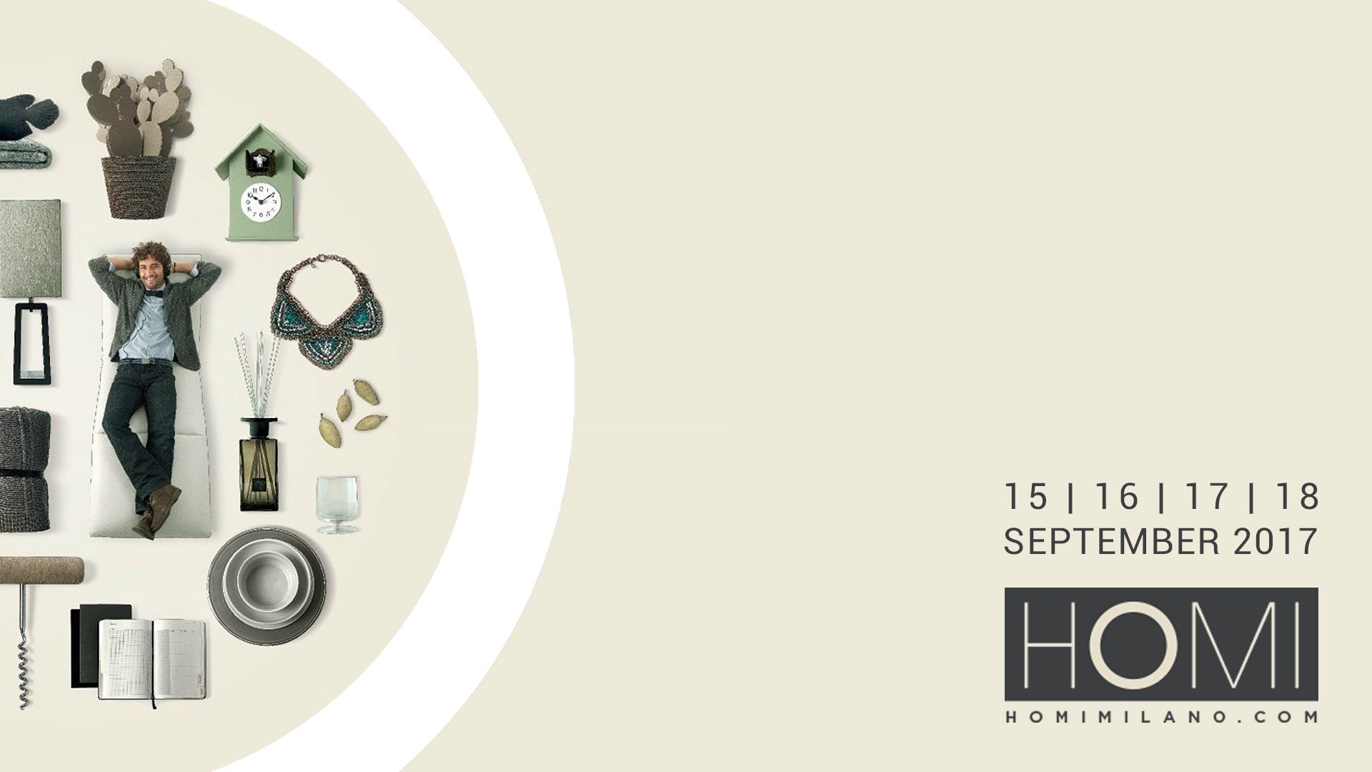 Locandina di presentazione della fiera Homi che si terrà a Milano dal 15 al 18 Settembre 2017.