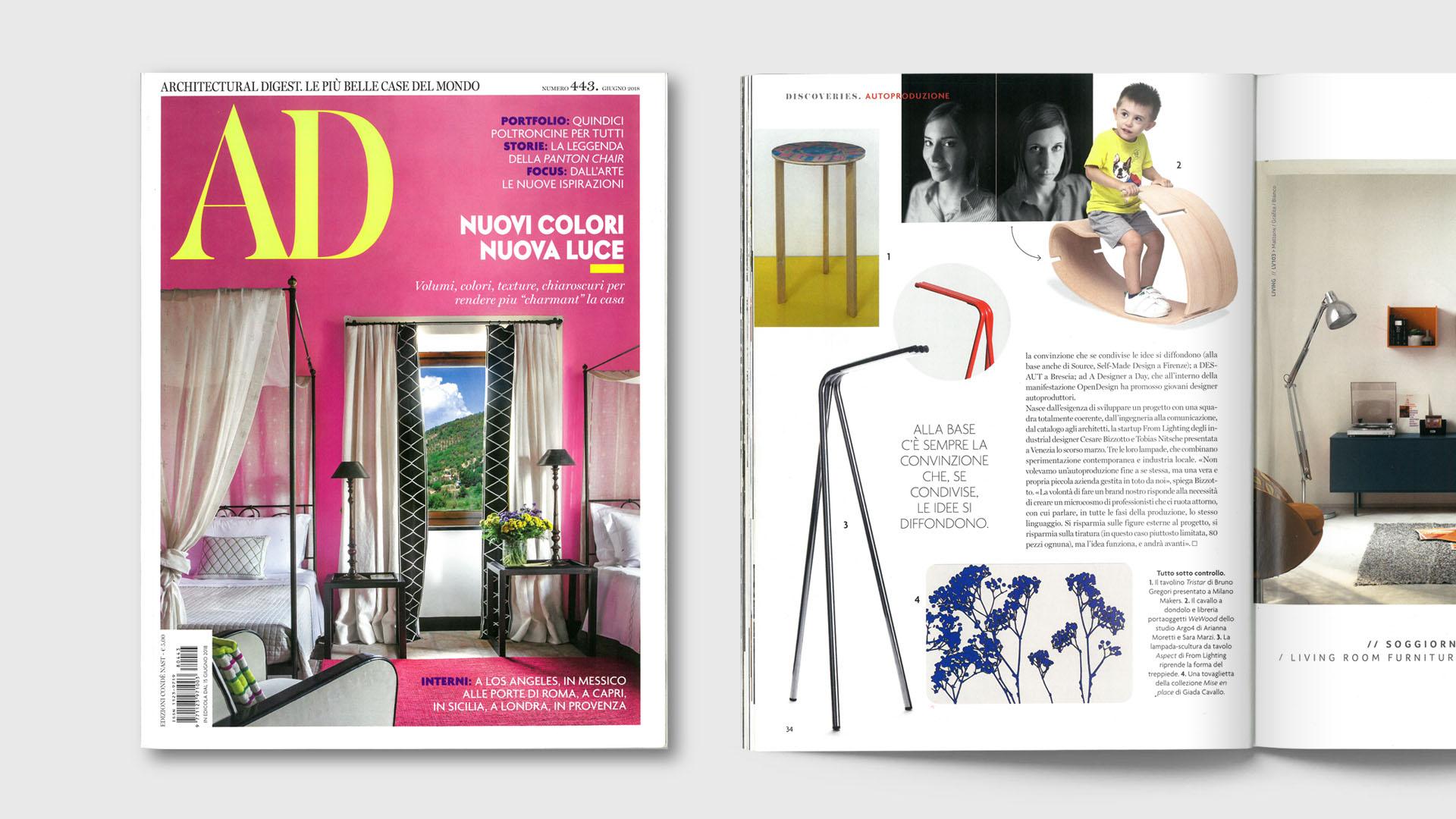 Immagine della copertina di AD-Architectural Digest di Giugno 2018 e della pagina con l'articolo riguardo il design autoprodotto.