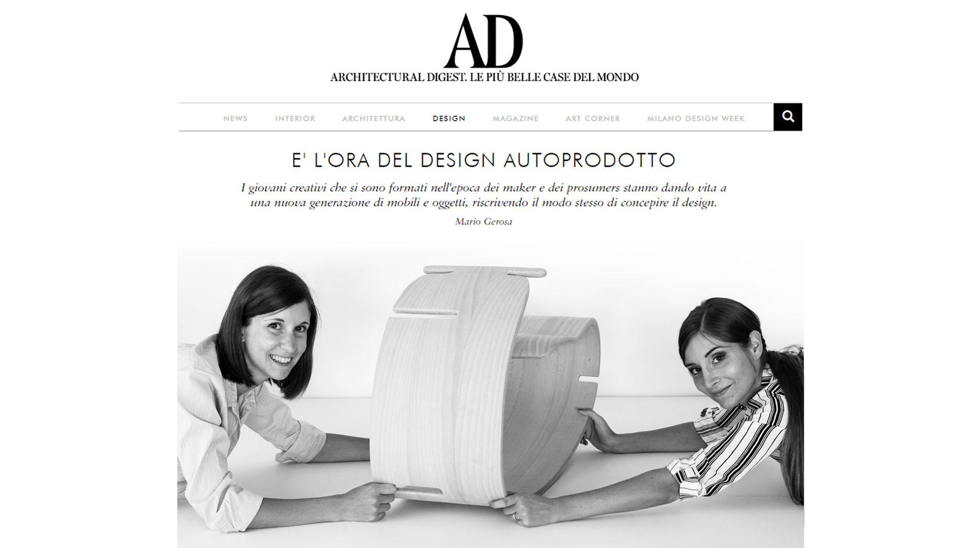 Schermata dell'articolo sul sito web di AD Italia dove si parla di design autoprodotto.