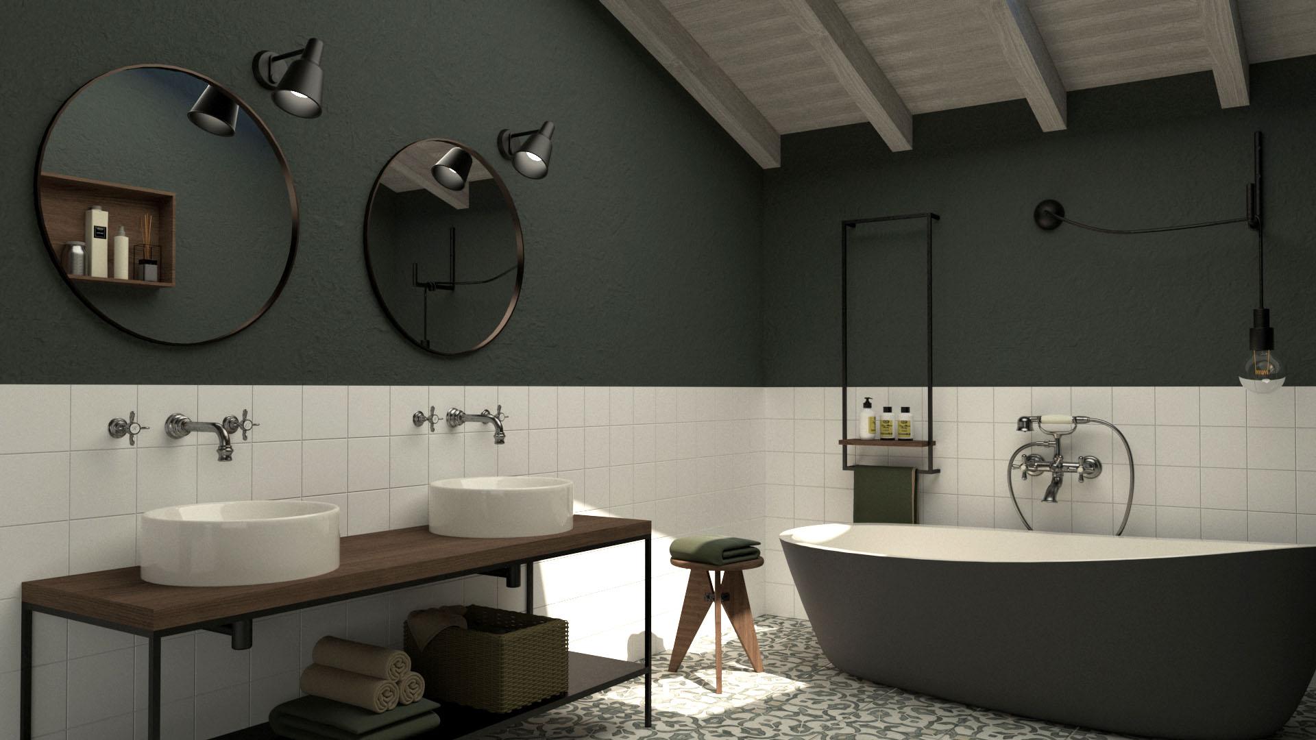 Progetto di ristrutturazione dello studio di architettura Argo4 - Render del bagno
