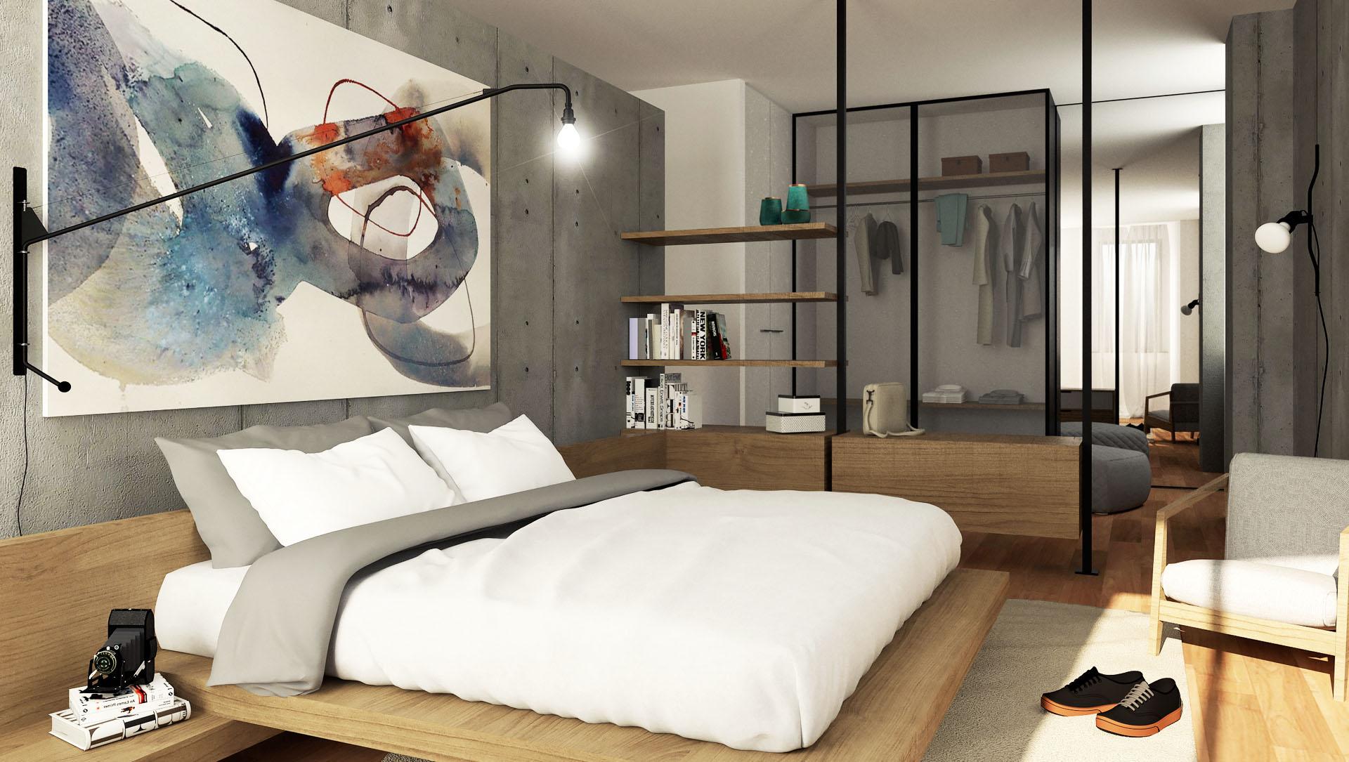 Progetto di ristrutturazione dello studio di architettura Argo4 - Render della camera matrimoniale