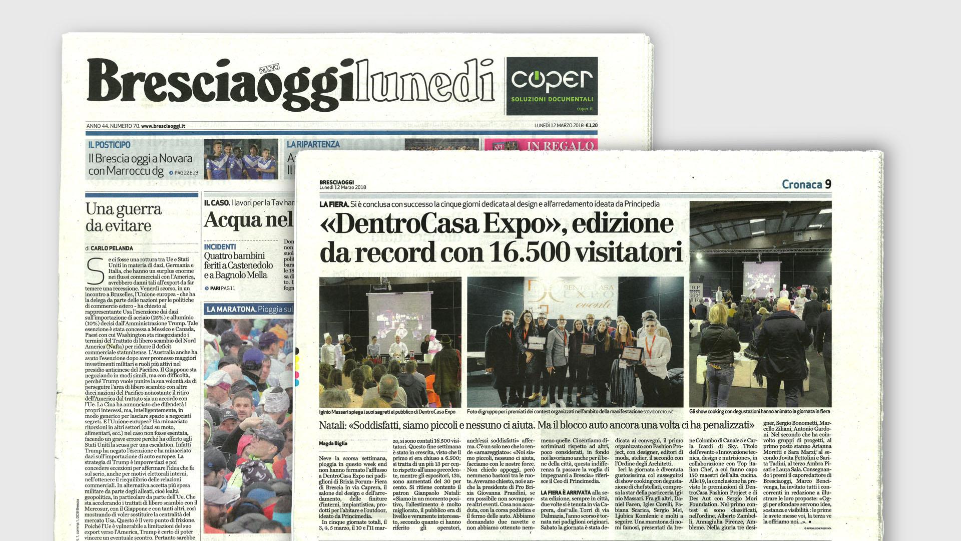Immagine della prima pagina del Bresciaoggi del 12 Marzo 2018 e della pagina con l'articolo riguardo DentroCasa Expo.