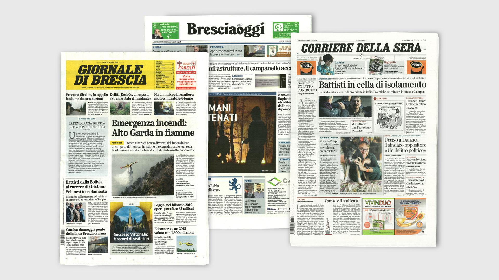 Immagine delle prime pagine di Bresciaoggi, Giornale di Brescia e Corriere della sera del 15 Marzo 2019.