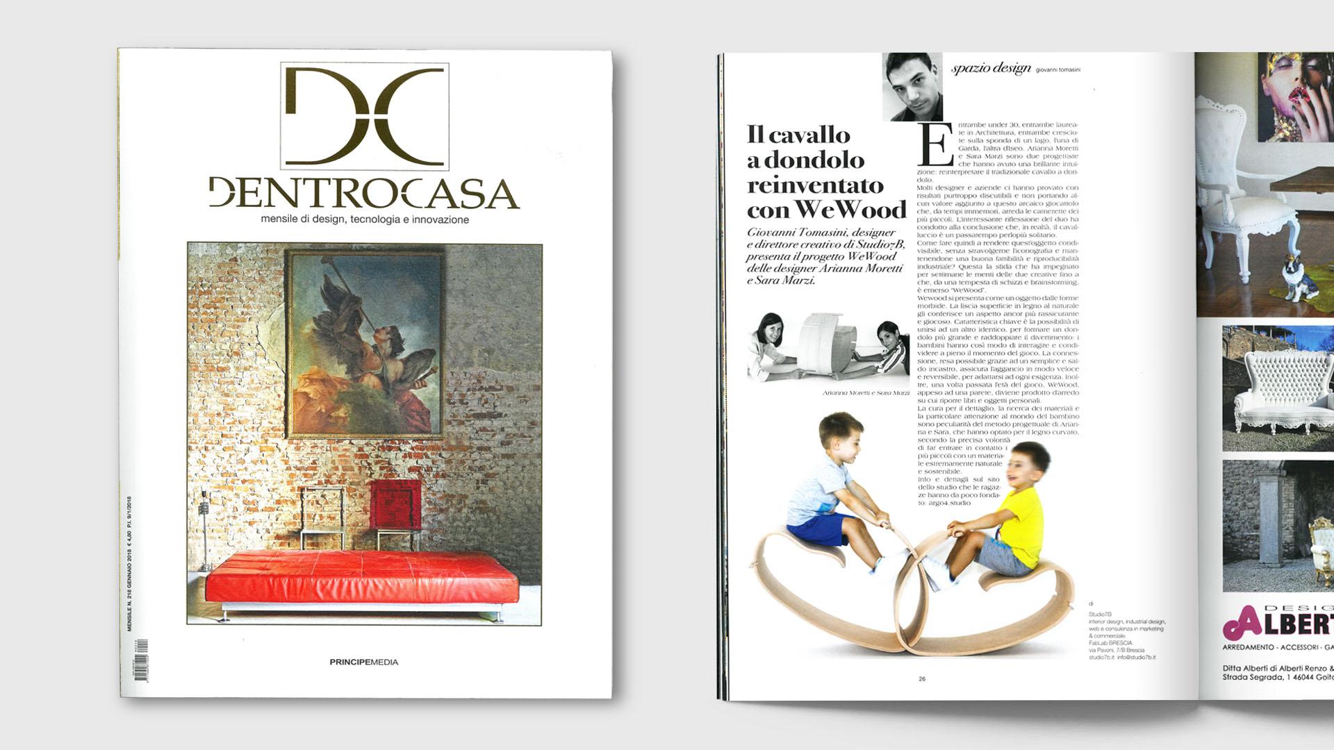 Immagine della copertina del numero di Gennaio 2018 di DentroCasa e pagina dell'articolo relativo al cavallo a dondolo YaWood dello studio di Architettura Argo4.