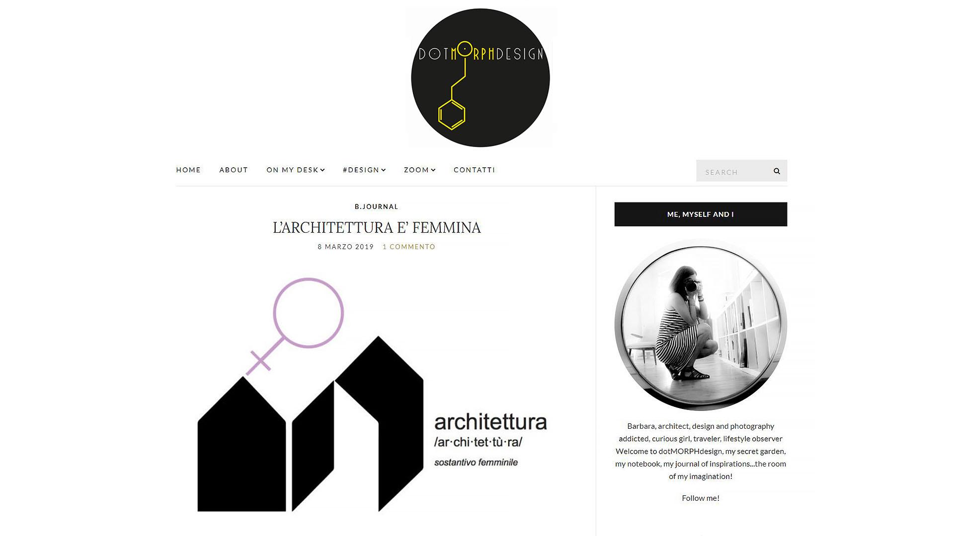 Schermata dell'articolo sul sito web di DotMorph Design dove si parla di donne e architettura.