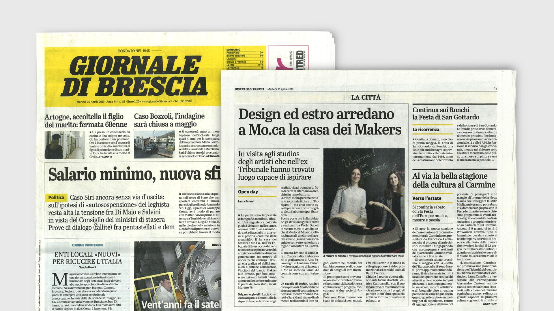Immagine della prima pagina del Giornale di Brescia del 30 Aprile 2019.