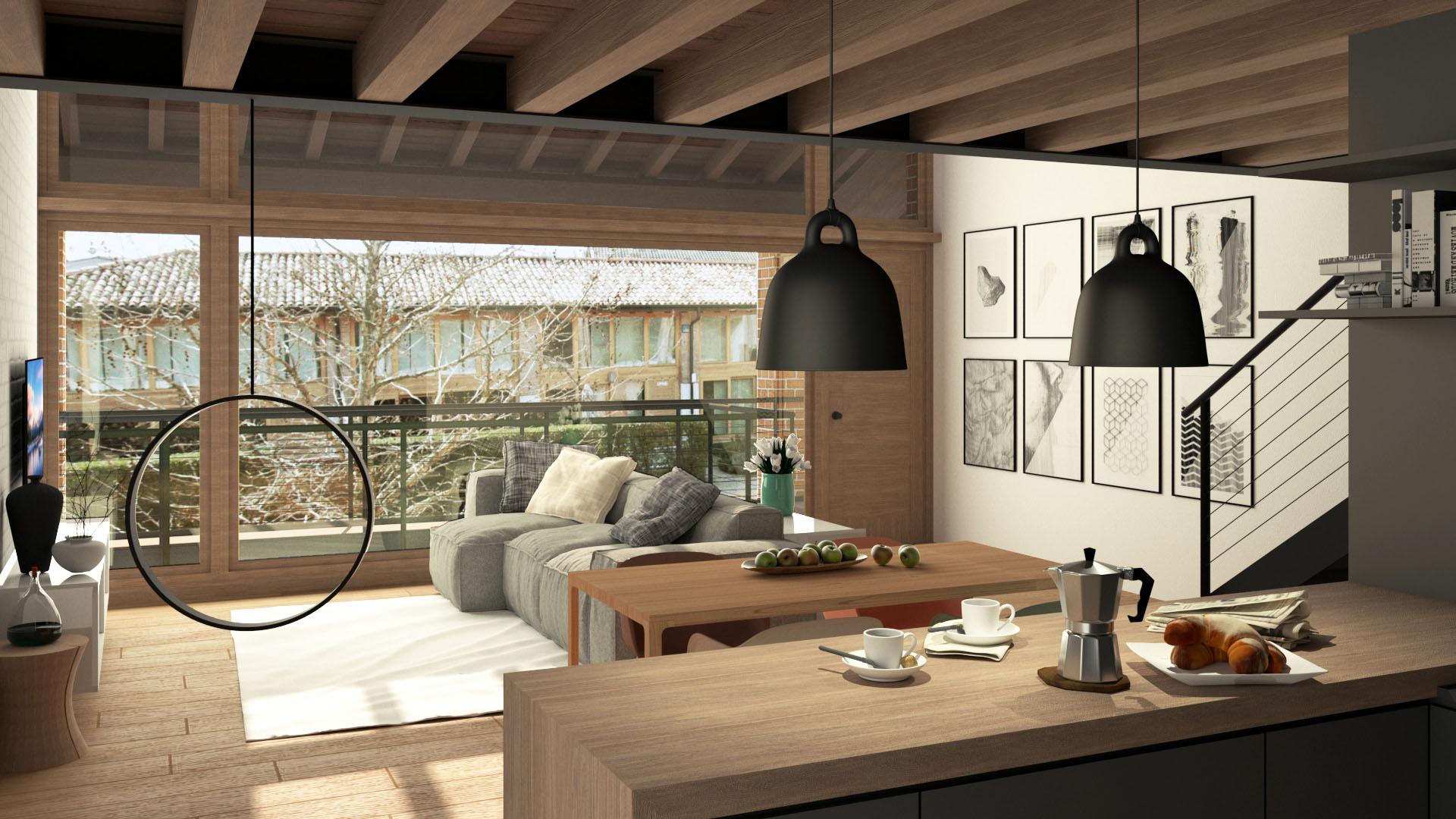 Progetto di ristrutturazione dello studio di architettura Argo4. Render della zona giorno.