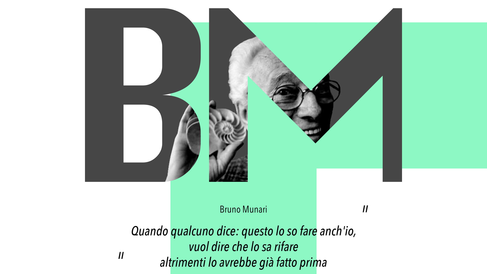Grafica con le iniziali BM all'interno delle quali si vede il ritratto dell'artista e designer Bruno Munari, protagonista dell'articolo.