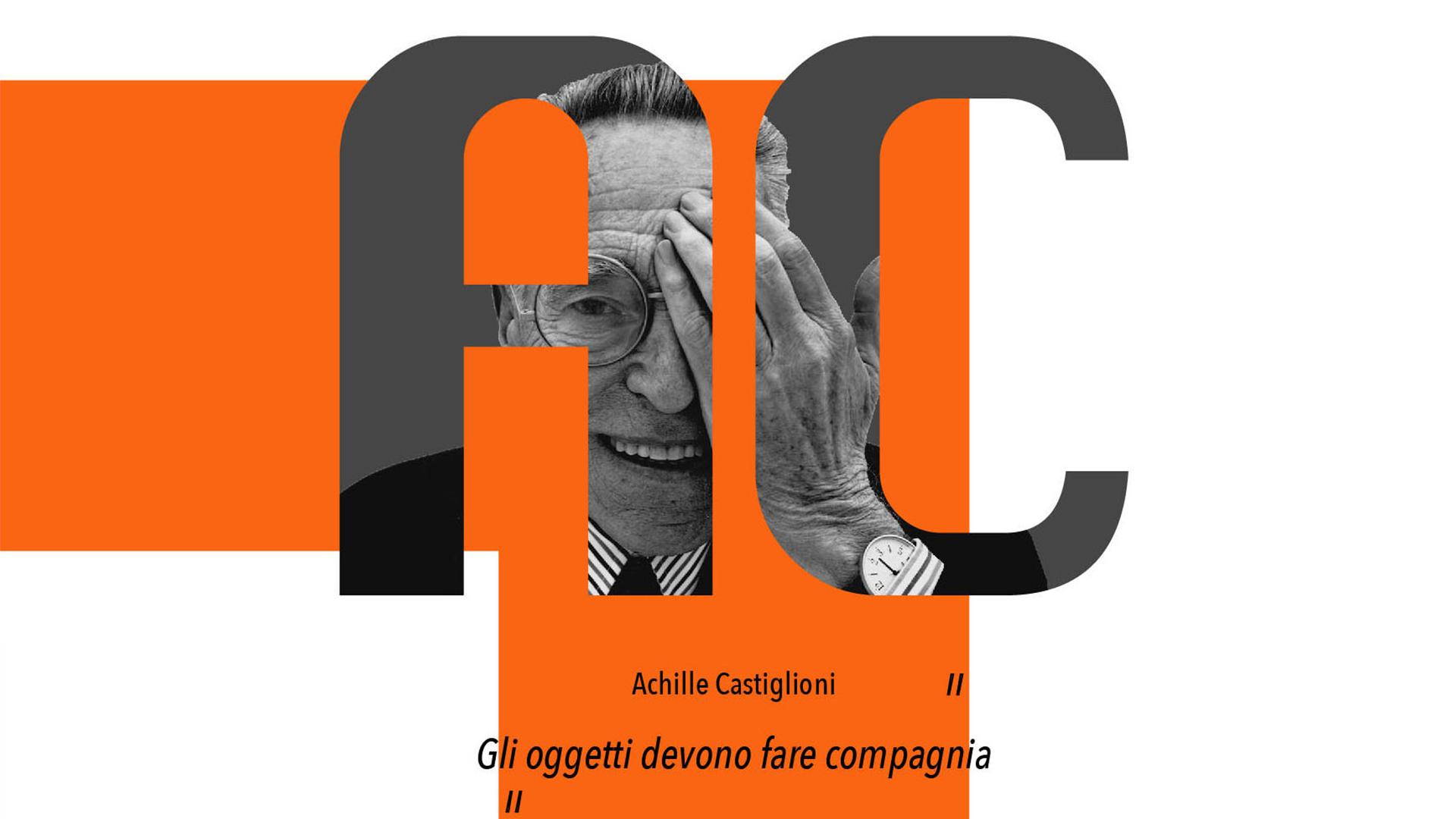 Grafica con le iniziali AC all'interno delle quali si vede il ritratto dell'architetto e designer Achille Castiglioni, protagonista dell'articolo.